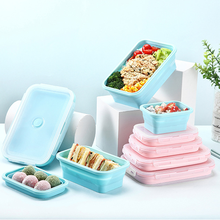 Collapsible Silicone Lunch Box Food Storage Container Bento Microwavable Portable Picnic Camping Rectangle Outdoor LunchBox