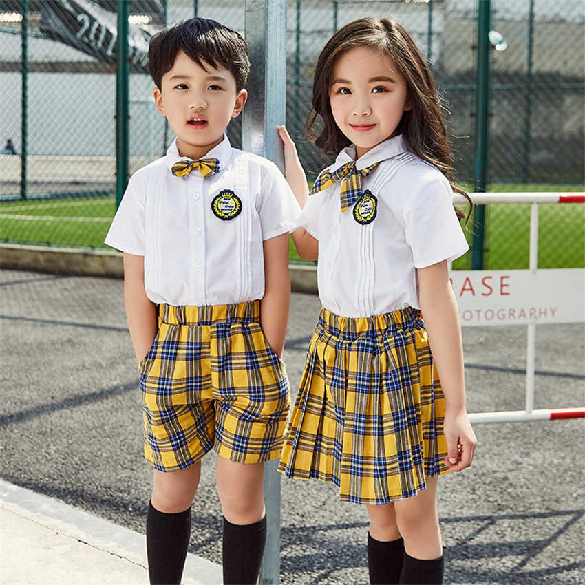 90-180cm Kids Fashion School Uniforms Korean Japanese Style Class Clothes Top Plaid Skirt Tie Stage Costumes for Children