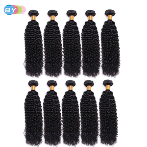 Image 5 - BY Malaysian Kinky Curly Hair Bundles Remy Human Hair Extensions Natural Color Buy 1/3/4 Bundles Thick Kinky Curly Bundles Black