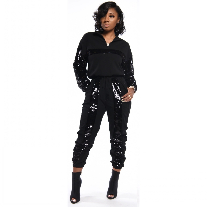 African Sets For Women New Suit Zipper Long Sleeve Top Long Pants Suits Sequined Two Piece Set Outfits Sportwear Africa Clothing