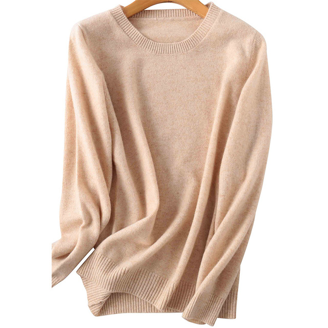 100% Merino Wool Cashmere Sweater Women 2020 Autumn Winter Warm Soft O-Neck Long Sleeve Knitted Pullover Jumper Femme Sweater 2