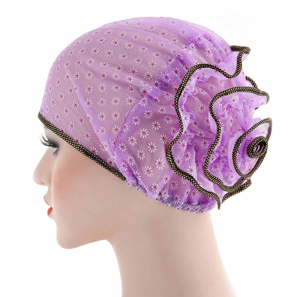 2019 NUOVE Donne di Modo Fiore Musulmano Posteriore Islamico Hijab Chemio Cancro Turbante Del Cappello Del Cotone Headwrap