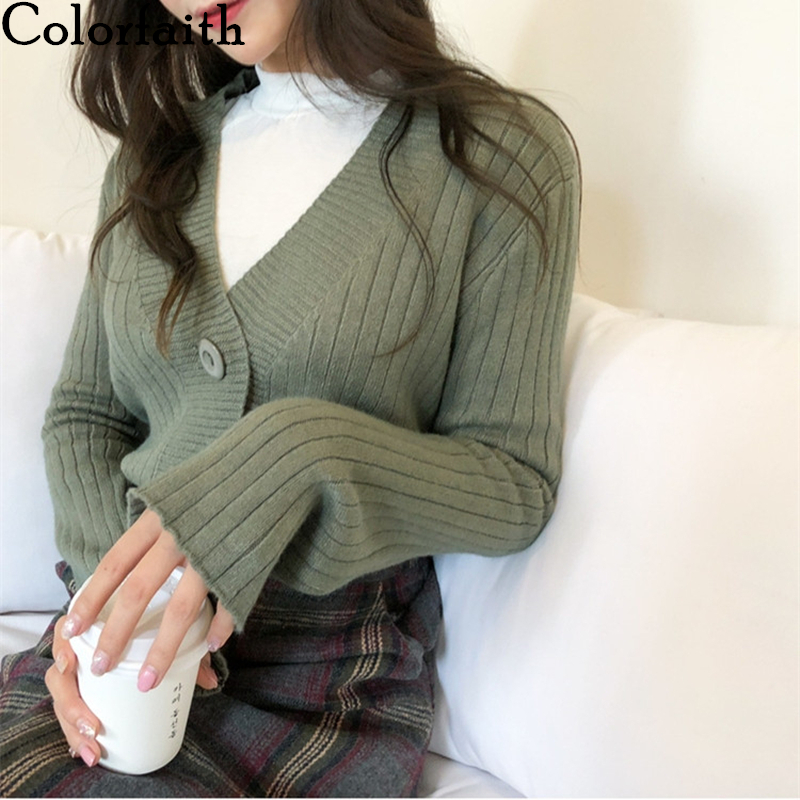 Colorfaith New 2020 Women's Sweaters Spring Autumn Fashionable Casual V-Neck Single Breasted Knitting Short Cardigans SWC356