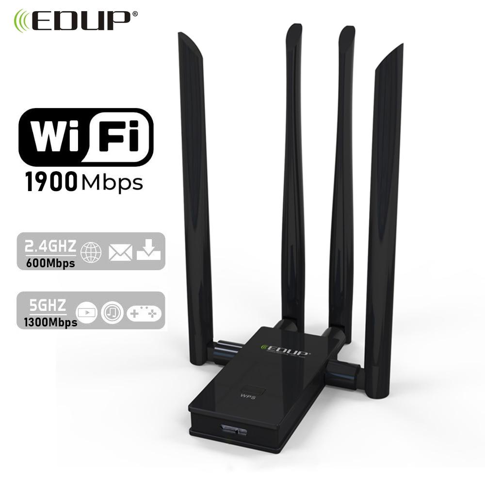 EDUP 1900 Мбит/с беспроводной USB 3,0 WIFI адаптер двухдиапазонный 2,4G/5 ГГц USB Сетевая карта WIFI приемник 4 * 6dBi антенны для портативных ПК