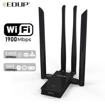 EDUP 1900Mbps Wireless USB 3.0 WIFI Adapter Dual Band 2.4G/5Ghz USB Network Card WIFI Receiver 4*6dBi Antennas for Laptop PC