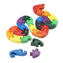 Деревянная головоломка для детей, игрушки, обучающие игрушки для детей, головоломка, буквы, буквенно-цифровые, прекрасная форма змеи, деревянная головоломка, развивающая игрушка