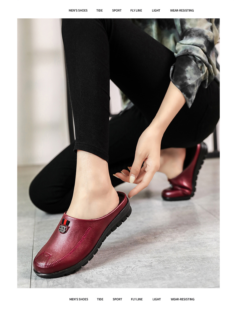 cunha mãe sapatos moda feminina cor sólida deslizamento em loafe