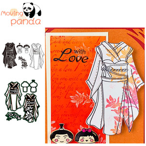 MovingPanda JC107 Japanese kimono Stamp Set Metal Cutting Dies and stamps for scrapbooking and papercard making(China)