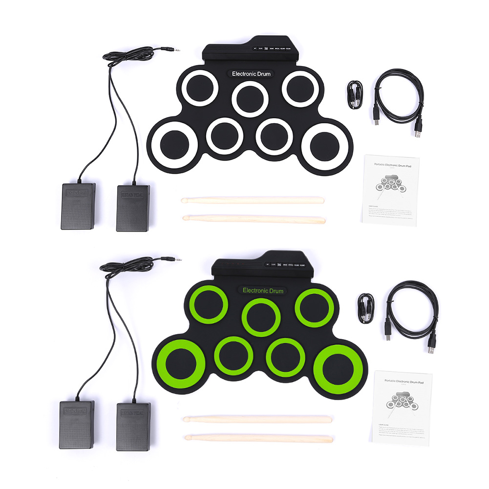 Electronic Drum Portable USB Silicon W/Stick 7 Pad Musical Professional Drum Percussion Instruments Support External Headphones