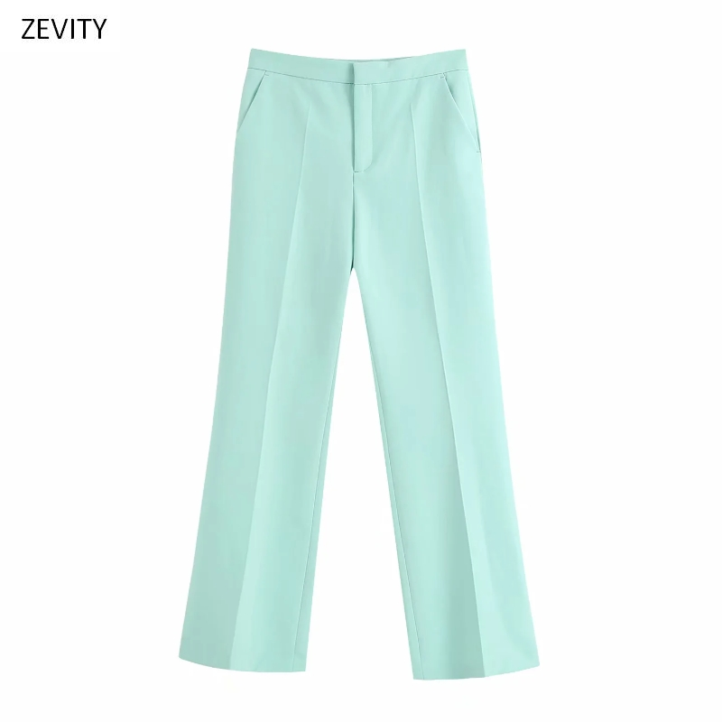 Zevity New Women Fashion Solid Color Pocket Flare Pants Chic Office Lady Zipper Fly Casual Slim Pantalones Mujer Trousers P827