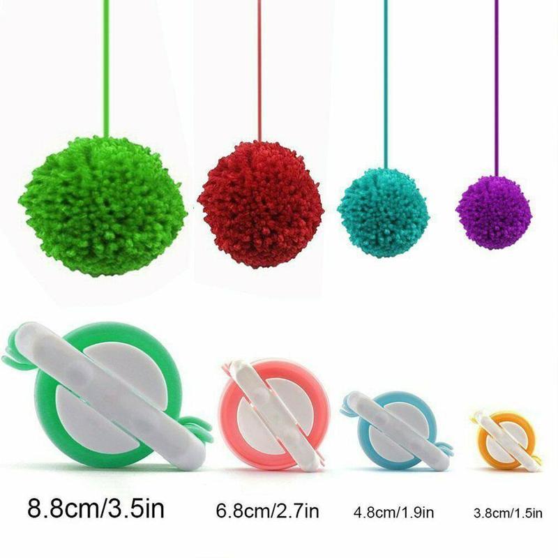 1set Braiding Tool Ball Weaving Pompom Maker Fluff Ball Weaver Needle Diy Fabric Decoration Craft Knitting Tool Suction Card