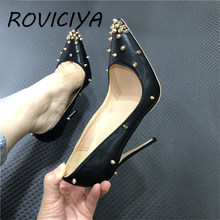 Black Rivets Pumps Women Shoes Classics 12cm High Heel Shoes Pointed Toe Fashion Women Party Wedding Shoes Sexy MD030 ROVICIYA(China)