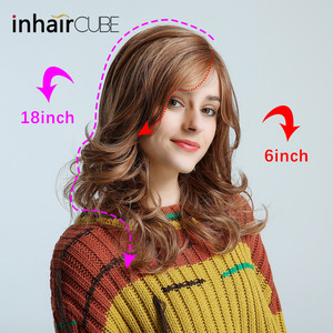 """Image 2 - Inhair קוביית ארוך גלי טבעי חום קוספליי פאות 18 """"טבעי נשים של פאת תלבושות המפלגה חום עמיד סינטטי מזויף שיער חתיכות"""