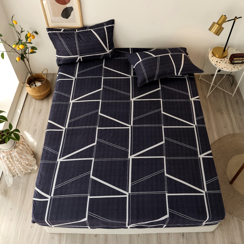 3 pcs Bed Sheets Single Size Geometric Printed Fitted Sheet For Adult Mattress Cover Four Corners With Elastic Band Bedsheet