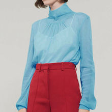 Women Sheer Mesh Long Sleeve Blouse Autumn Ladies Solid Fashion Shirts Tops