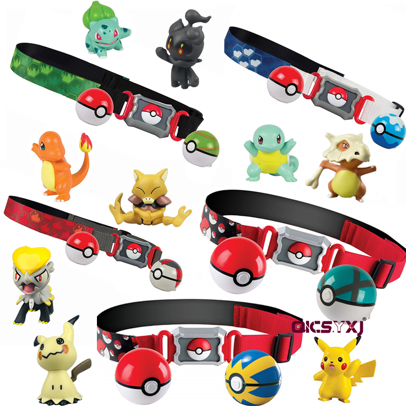 Pocket Monster Clip Carry PokeBall Belt Battle Monster Figure Pokemon Pikachu Torracat Cubone Abra Psyduck Childrens Toys Gift