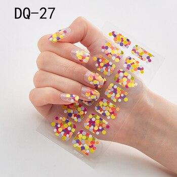 14pcs/sheet Glitter Gradient Color Nail Stickers Nail Wraps Full Cover Nail Polish Sticker DIY Self-Adhesive Nail Art Decoration 98