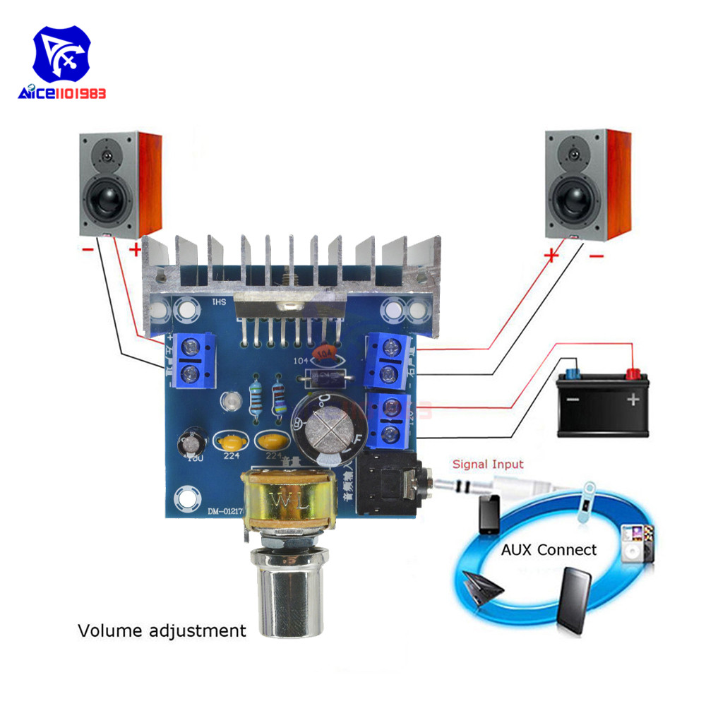 Diymore TDA7297 DC 9-15V 2x15W Digital Audio Amplifier Module Dual-Channel Amplifier Board With Potentiometer 3.5mm Audio Jack