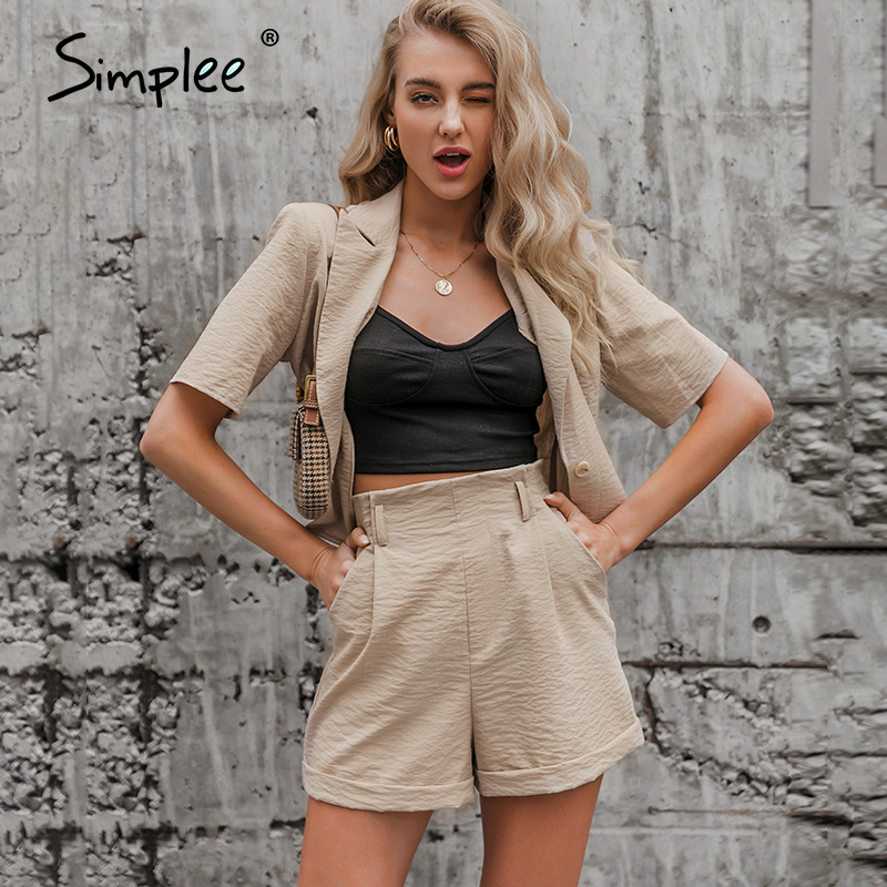 Simplee Casual Two-piece Women Blouse Shorts Set Short Sleeve Button Zippers Female Suits Spring Summer Ladies Top Shorts Sets