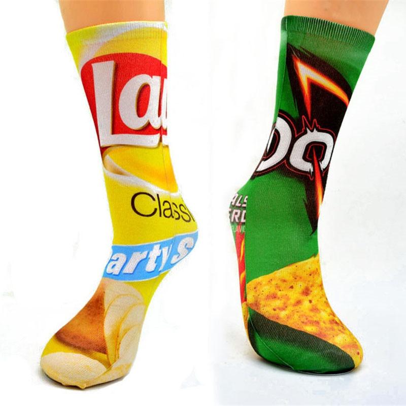 Harajuku Unisex Men Art Cotton Socks Women Printed Custom Made Potato Chips Knee Socks Funny Long Woman Socks For Meias 6S-D23