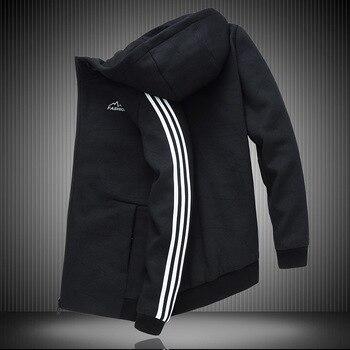 Autumn Men Sports Coat Plus Fat plus Size Autumn Clothes Pure Cotton Sweater Fat Fat Man Lian Cap Leisure Jacket