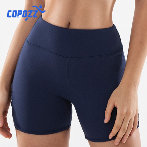 COPOZZ Spandex Sexy Fitness Jogger Shorts Womens High Waist Yoga Sport Workout Shorts Tummy Control Seamless Gym Athletic Shorts Pakistan