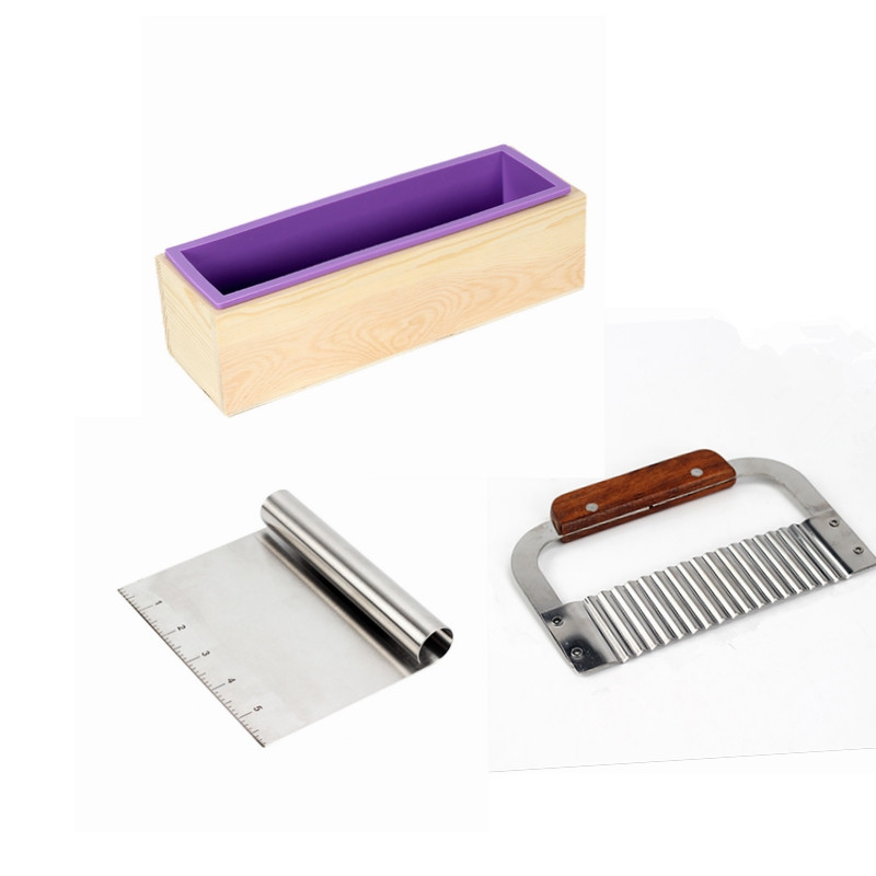 Silicone Soap Mold Kit Rectangular Loaf Mold With Wood Box,2 Pcs Soap Cutter Stainless For CP And MP Making Supplies