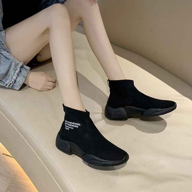 Socks shoes women summer new wild casual breathable elastic high-top sneakers socks boots 2019 autumn women shoes 27