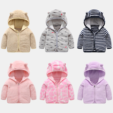 Baby Boys Girls Coat Winter Autumn Clothes Children's Coral Velvet Coat Infant Thicken Outerwear Kids Warm Zipper Hooded Jackets цена 2017