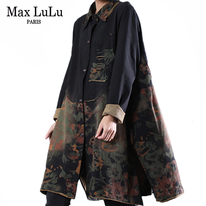 Max LuLu 2019 Autumn Clothes Luxury Korean Ladies Gothic Streetwear Women Long Patchwork Trench Coats Casual Floral Windbreakers