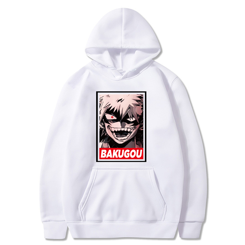Bakugou Hoodie Bakugou Boku No Hero Academia Hoodies Nice Mens Pullover Hoodie Outdoor White XXXL Long Cotton Autumn Hoodies