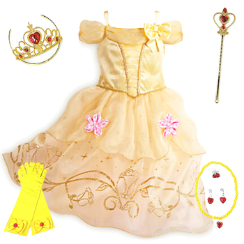 Kids Bell Dress for Girls Carnival Fancy Princess Disguise Children Cosplay Beauty and the Beast Costume Birthday Party Clothes princess bell dress purple mesh beauty and the beast a line cosplay dress kids carnival costume halloween party show vestido