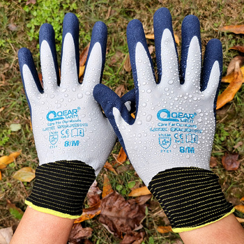 QearSafety Garden work gloves Fully latex coated,water proof, palm sandy latex for anti-slip, and thorn resistance nmsafety better grip ultra thin knit latex dip nylon red latex coated work gloves luvas