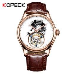 2019 100% prawdziwe Tourbillon chiński smok zegarek mężczyźni Top marka KOPECK Sapphire zegarek mechaniczny mężczyzna Tourbillon zegarki na rękę 7011G|Zegarki mechaniczne|Zegarki -