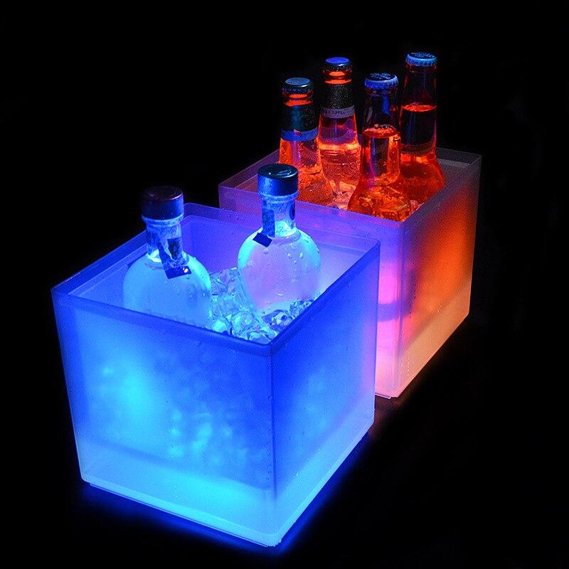 СВЕТОДИОДНЫЙ Ведро Льда 5L охладитель вина Цвета изменение цвета шампанского ведро льда для вечерние домашний бар ночной светильник со форм...