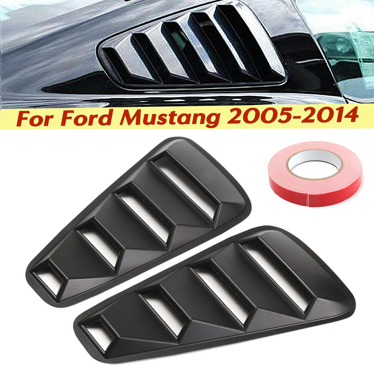 For 05-14 Ford Mustang 1//4 Quarter Black Side Window Louvers Scoop Cover Vent