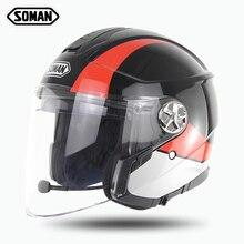 SOMAN 519-BT Built-in Bluetooth Open Face Helmet ECE Approved Motorcycle Kask Bl