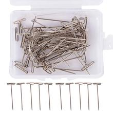 100Pcs T Pin Silver With Box For Modelling Wigs Sewing Crafts Diy Tool 38Mm(China)