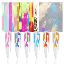 16 PCS Holographic Fire Flame Nail Vinyls Stencil Hollow Stickers Fires On Manicure Stencil Stickers Nail Art Decoration 2 sheets fire nail vinyls stencil hollow stickers fires on manicure stencil stickers nail art decoration