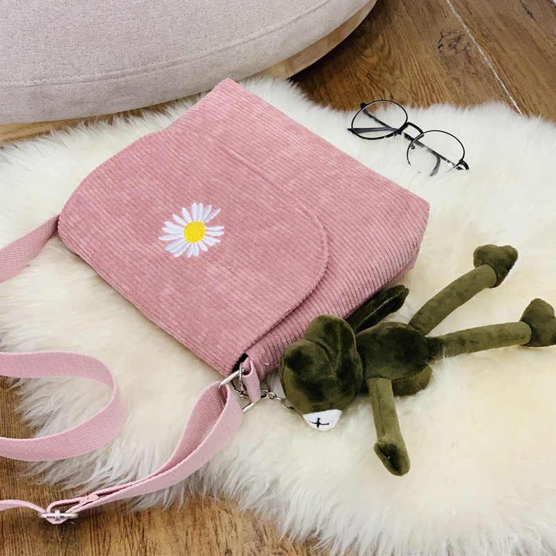 Mulheres listra veludo crossbody sacos margarida bordado lona zíper bolsa de ombro & mensageiro telefone moeda dinheiro bolsas para meninas
