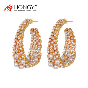 HONGYE Exaggerated Vintage Gold Color Simulated Pearl Hoop Earrings Big Circle Punk Statement Brincos for Women Wedding Jewelry image