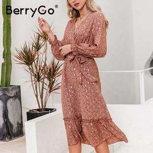 Image 4 - BerryGo v 넥 프린트 봄 여름 드레스 여성 우아한 긴 소매 주름 사무 작업 드레스 a 라인 숙녀 긴 드레스 vestidos