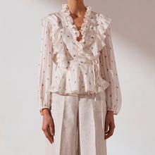 KHALEE YOSE White Ruffle Wrap Blouse Shirt Autumn Long Sheer Sleeves Blouse V-neck Vintage Elegant Runway Blouse Tops 2019 plus embroidery ruffle hem semi sheer blouse