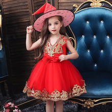 Halloween Costume Kids Dresses For Girls Elegant Princess Dress Tulle +Hat Cosplay 9.24