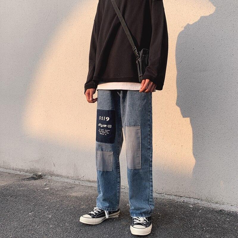 Men's Tide Baggy Homme Casual Pants Cargo Pocket Wash Jeans Blue Color Long Straight Pants Biker Denim Loose Trousers S-2XL