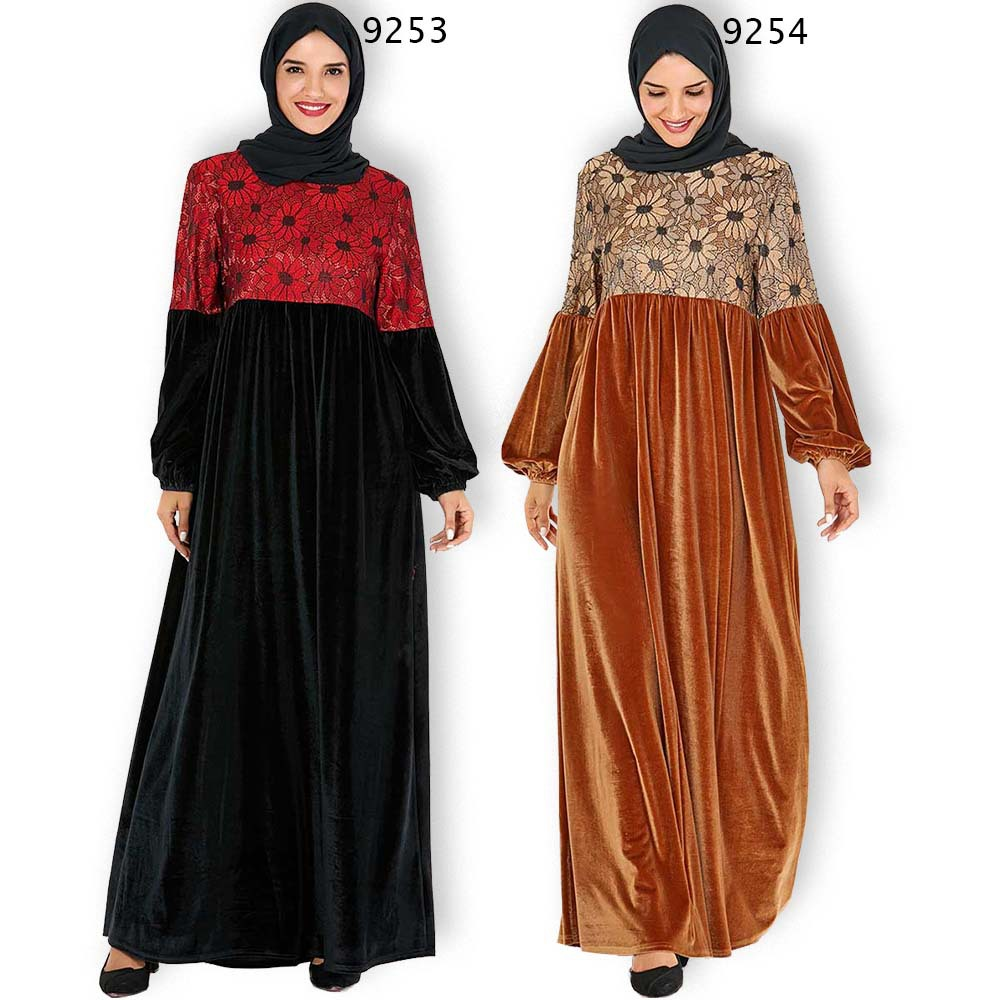 Elegant Velvet Abaya Floral Maxi Dress Muslim Vestidos Cardigan Kimono Long Robe Gowns Jubah Middle East Eid Ramadan Islamic