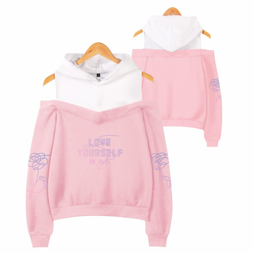 BTS Bulletproof Boys New Album LOVE Yourself Fashion WOMEN'S Dress Off-Shoulder Hoodie