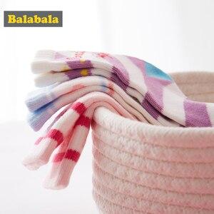 Image 2 - Детские носки Balabala, Осенние тонкие хлопковые носки для малышей, милые дышащие хлопковые носки для девочек, три пары