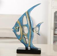 Blue Ocean Fish Statue Home Soft Decoration Living Room Office Wine cabinet Decoration Resin Handicraft