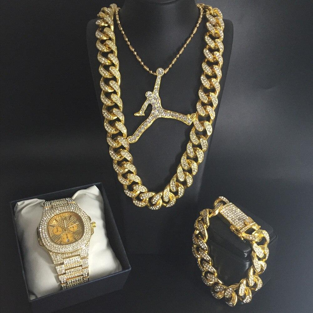 Luxe hommes or montre pour hommes hip-hop Ice Out Basketball collier montre & collier & Bracelet cubain bijoux pour hommes strass